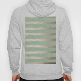 Simply Brushed Stripes White Gold Sands on Pastel Cactus Green Hoody