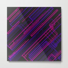 Minimalist Geometric Lines and Rectangles Design on a Black Background Metal Print