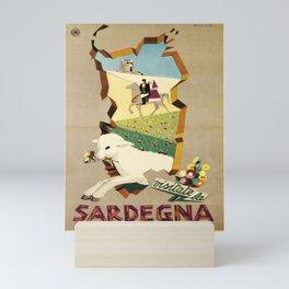 retro ENIT Sardegna old psoter Mini Art Print