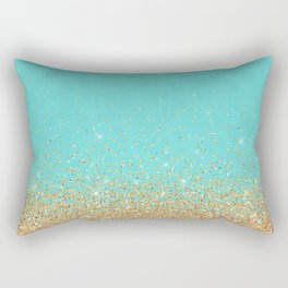 Sparkling gold glitter confetti on aqua teal damask background Rectangular Pillow