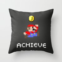 mario Throw Pillows featuring Mario by eARTh