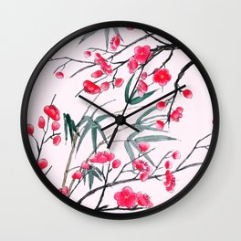 bamboo and red plum flowers in pink background Wall Clock