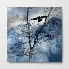 Winter's Crow - Dark Crows Series Metal Print