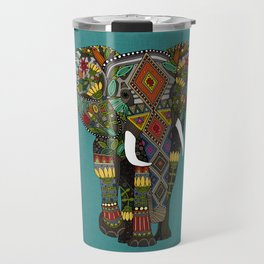 floral elephant teal Travel Mug