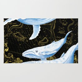 Blue Whales Family Golden Black Chic Rug