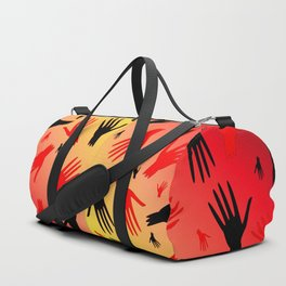Bloody hands. The pattern of the bloody zombie hands for the Halloween holiday. Duffle Bag