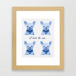 C'est la vie-Blue Framed Art Print