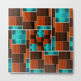 Geometric Puzzle (Aqua/Orange) Metal Print