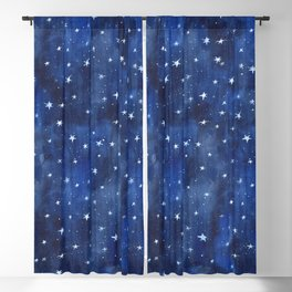 Midnight Stars Night Watercolor Painting by Robayre Blackout Curtain