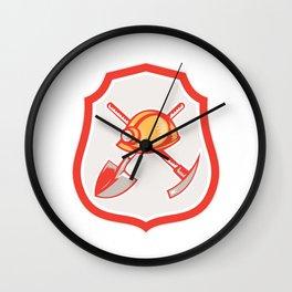 Miner Hardhat Spade Pick Axe Shield Retro Wall Clock