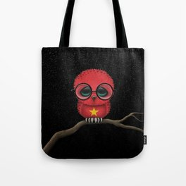 Baby Owl with Glasses and Vietnamese Flag Tote Bag