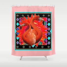 CORAL ART DECO SAFFRON FLORIDA FLAMINGOS ART Shower Curtain