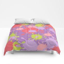 Paint Splatter-Purple+Pink+Green Comforters