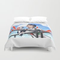 evangelion Duvet Covers featuring Evangelion Rei Hathaway by Akyanyme