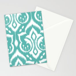 Ikat Damask Aqua Stationery Cards