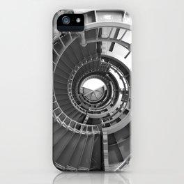 Gray's Harbor Lighthouse Stairwell Spiral Architecture Washington Nautical Coastal Black and White iPhone Case
