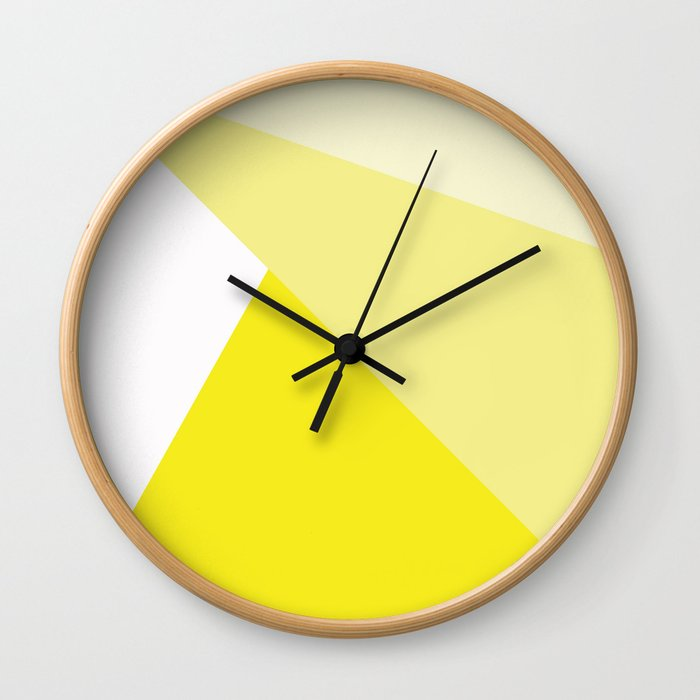 Simple Geometric Triangle Pattern - White on Yellow - Mix & Match with Simplicity of life Wall Clock