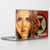 black widow Laptop & iPad Skins featuring Black Widow by Cassidy Dawn