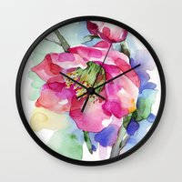 cherry blossom Wall Clocks featuring Cherry Blossom by A cup of grey tea