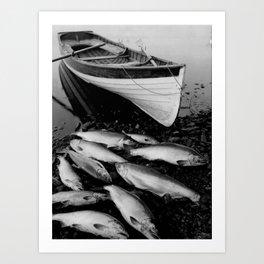 Salmon Fishing - Pêche au saumon  Art Print