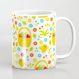 Easter Egg Basket With Little Chicks Pattern Coffee Mug
