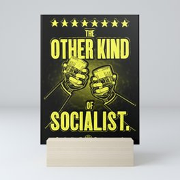 """Vintage """"The Other Kind of Socialist"""" Alcoholic Lithograph Advertisement in lemon yellow Mini Art Print"""