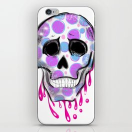 Purple and blue skull, dripping iPhone Skin