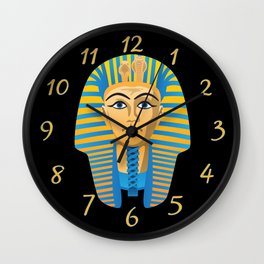Egyptian Golden Pharaoh Burial Mask Wall Clock
