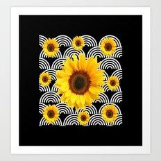 Decorative Black & Yellow Art Deco Sunflowers Art Print