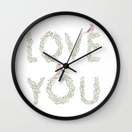 Love You Chalkboard Print Wall Clock