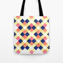 Colorful pink yellow navy blue watercolor geometrical pattern Tote Bag