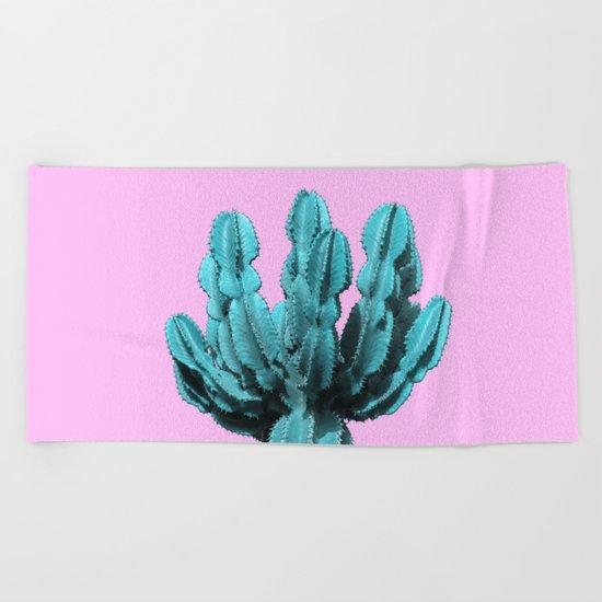 Turquoise cactus Beach Towel