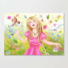 Colorful Spring Singer Canvas Print