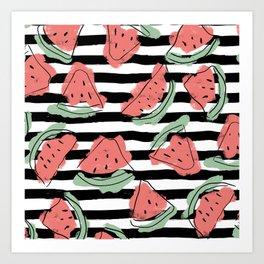 Geometric Artsy Watercolor Coral Mint Black Watermelon Art Print