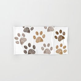 Brown colored paw print background Hand & Bath Towel