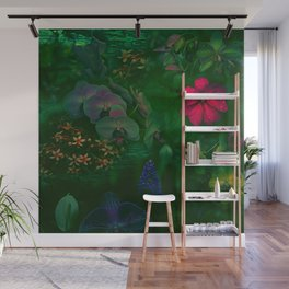 Gathering of Flowers - [Green Version] Wall Mural