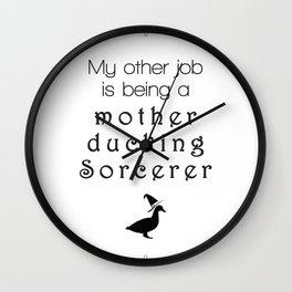 a mother ducking sorcerer Wall Clock