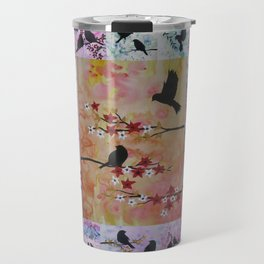 the serenity series- patchwork of sakura and birds -watercolor and acrylic- by Catherine Jacobs Travel Mug