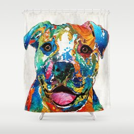Colorful Dog Pit Bull Art - Happy - By Sharon Cummings Shower Curtain
