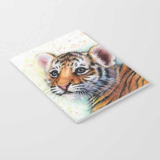 Tiger Cub Watercolor Painting Notebook