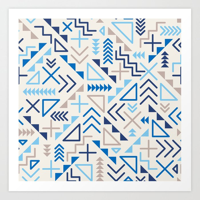Jumble Geometric Line Shapes Blue Hipster Pattern On Grey Abstract Background Design Art Print By Samolevsky