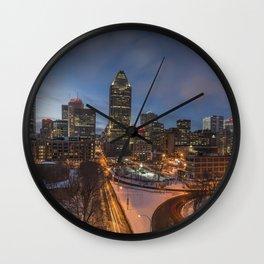 Montreal Night Skyline Wall Clock