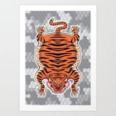 TIBETAN TIGER (white) Art Print