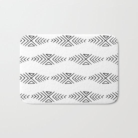 mudcloth 11 minimal textured black and white pattern home decor minimalist beach Bath Mat