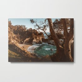 Big Sur Sunset at McWay Falls Metal Print