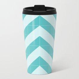 blue Tiled Chevron Metal Travel Mug