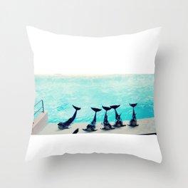 Spectacular Dolphin Show Throw Pillow