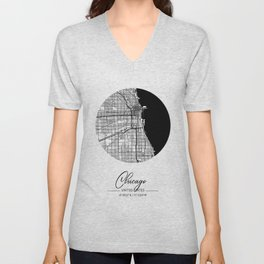 Chicago Area City Map, Chicago Circle City Maps Print, Chicago Black Water City Maps Unisex V-Neck