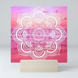 Water Mandala Hot Pink Fuchsia Mini Art Print