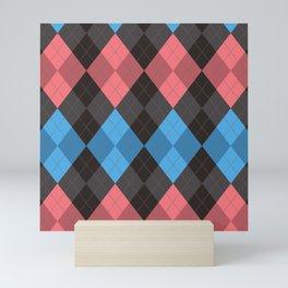Pink Blue Black Argyle Diamond Plaid Mini Art Print